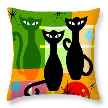 Throw Pillow featuring the photograph Mid Century Modern Abstract Mcm Bowling Alley Cats 20190113 Square by Wingsdomain Art and Photography