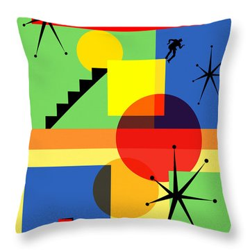 Throw Pillow featuring the digital art Mid Century Modern Abstract Over The Edge 20190106 by Wingsdomain Art and Photography