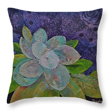 Midnight Magnolia I Throw Pillow