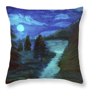 Midnight River Throw Pillow