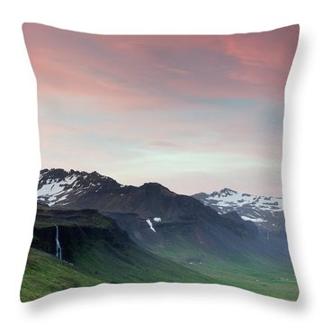 Midnight Sun In Iceland Throw Pillow