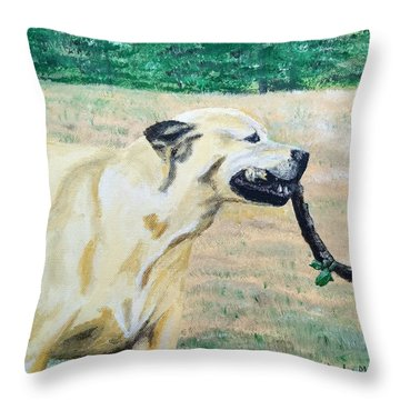 Throw Pillow featuring the painting Mike by Kevin Daly