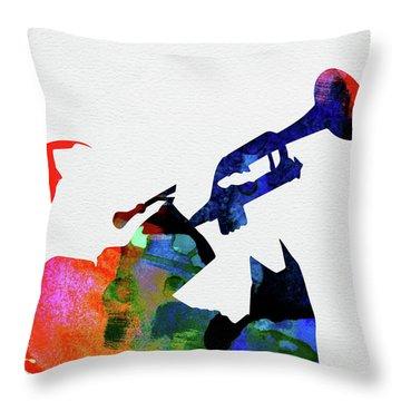 Miles Davis Watercolor Throw Pillow