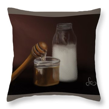 Throw Pillow featuring the painting Milk And Honey  by Fe Jones