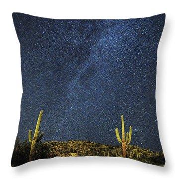 Milky Way And Cactus Throw Pillow