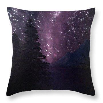 Milky Way Lake Throw Pillow