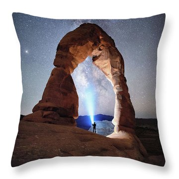 Throw Pillow featuring the photograph Milky Way Night Sky In Moab Arches National Park \ by OLena Art Brand