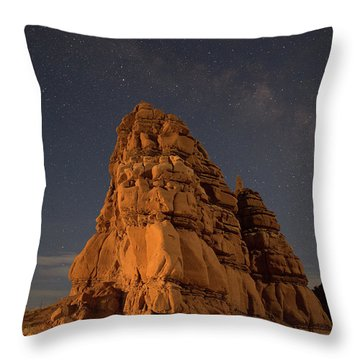 Milky Way On The Rocks Throw Pillow