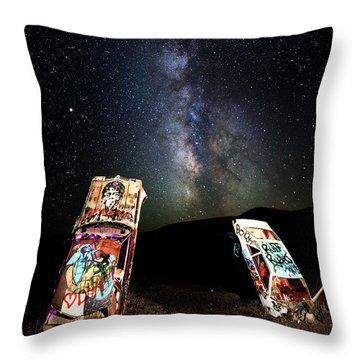 Milky Way Over Mojave Desert Graffiti 1 Throw Pillow