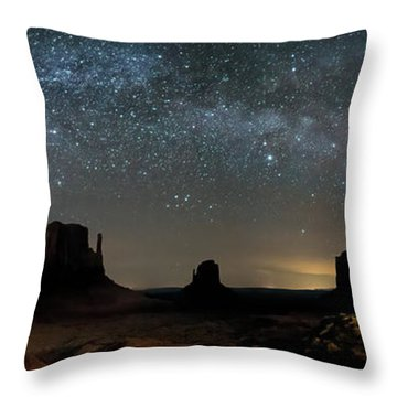 Milky Way Over Monument Valley Throw Pillow