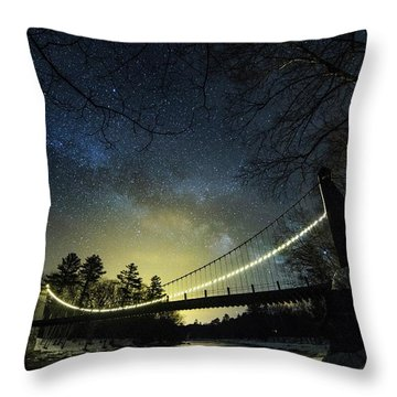 Milky Way Over The Wire Bridge Throw Pillow