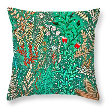 Millefleurs Home Decor Design In Brilliant Green And Light Oranges With Leaves And Flowers Throw Pillow