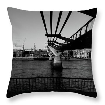 Throw Pillow featuring the photograph Millennium Bridge  by Edward Lee