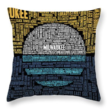 Milwaukee Neighborhood Word Cloud Throw Pillow