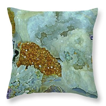 Throw Pillow featuring the mixed media Mineral Medley 12 by Lynda Lehmann