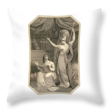 Minerva Directing Study To The  Attainment Of Universal Knowledge Throw Pillow