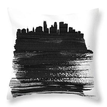 Minneapolis Skyline Brush Stroke Black Throw Pillow
