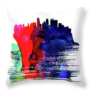 Minneapolis Skyline Brush Stroke Watercolor   Throw Pillow