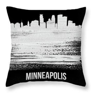 Minneapolis Skyline Brush Stroke White Throw Pillow