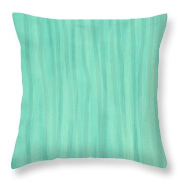 Mint Green Lines Throw Pillow