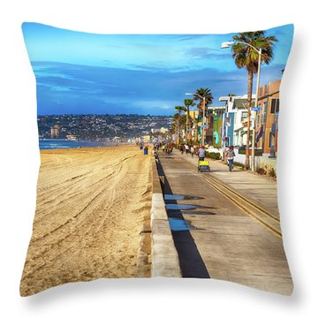 Mission Beach Boardwalk Throw Pillow