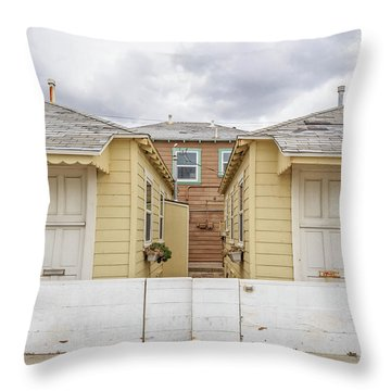 Mission Beach Cottages Throw Pillow