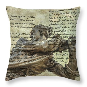 Mississippi Monument Gettysburg Address Throw Pillow