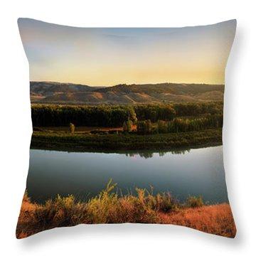 Missouri River Sunrise Panoramic Throw Pillow