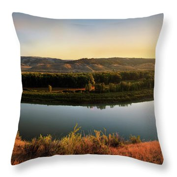 Missouri River Sunrise Panoramic Throw Pillow