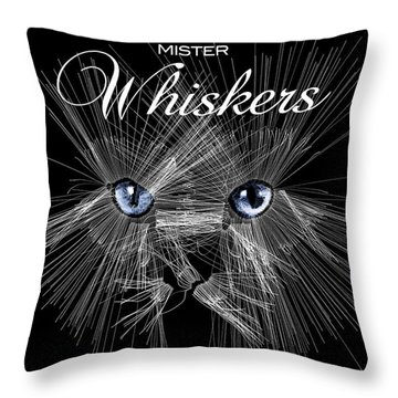 Throw Pillow featuring the digital art Mister Whiskers by ISAW Company