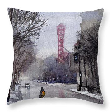 Misty Morning On Stae Street Throw Pillow