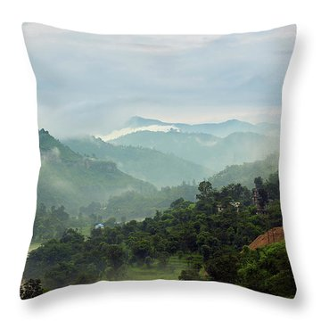 Throw Pillow featuring the photograph Misty Mountains by Whitney Goodey