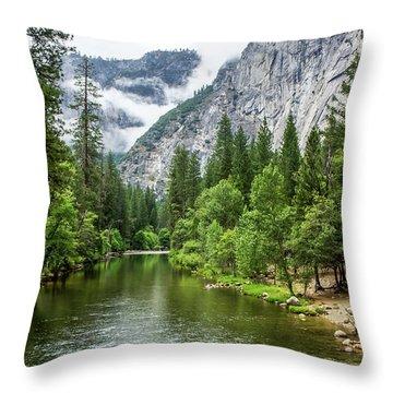Misty Mountains, Yosemite Throw Pillow