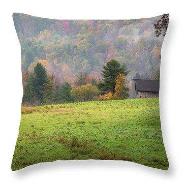 Throw Pillow featuring the photograph Misty New England Autumn by Bill Wakeley