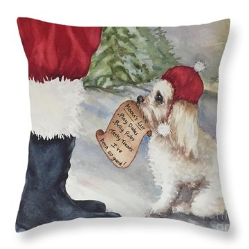 Mocha's List Throw Pillow