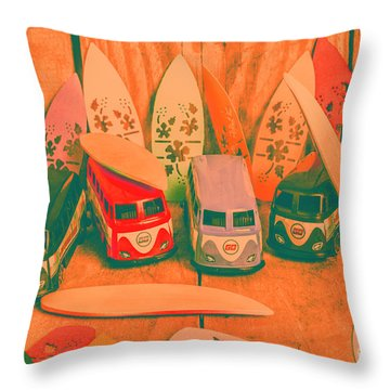 Modelling A Surfing Vacation Throw Pillow