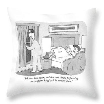 Modern Dress Ring Cycle Throw Pillow