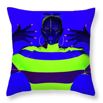 Throw Pillow featuring the photograph Modern Neon Portrait by Dennis Dame