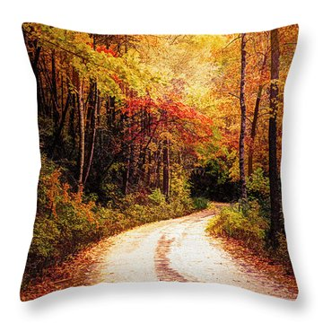 Molten Golds In The Forest Throw Pillow