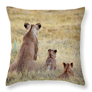 Mom And Cubs Throw Pillow