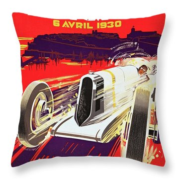 Monaco Grand Prix 1930, Vintage Racing Poster Throw Pillow