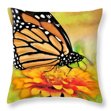 Monarch Butterfly On Flower Throw Pillow