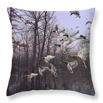 Monday Morning Mallards Throw Pillow