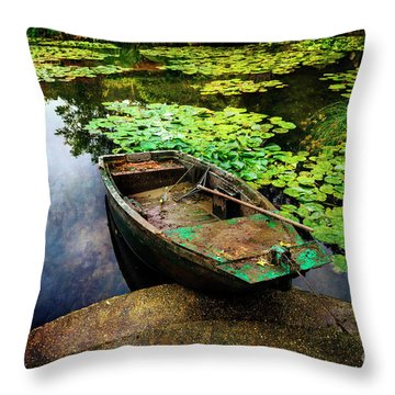 Monet's Gardeners Boat Throw Pillow