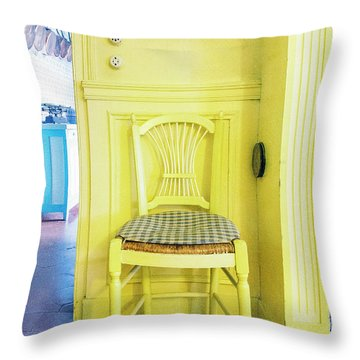 Monet's Kitchen Yellow Chair Throw Pillow