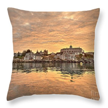 Monhegan Sunrise - Harbor View Throw Pillow