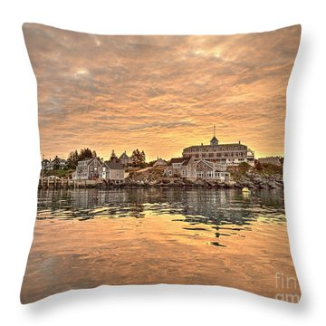 Monhegan Sunrise - Harbor View Throw Pillow