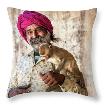 Monkey Temple Throw Pillow