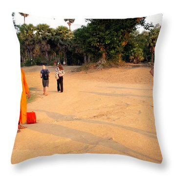 Monks At Ankgor Wat, Cambodia Throw Pillow