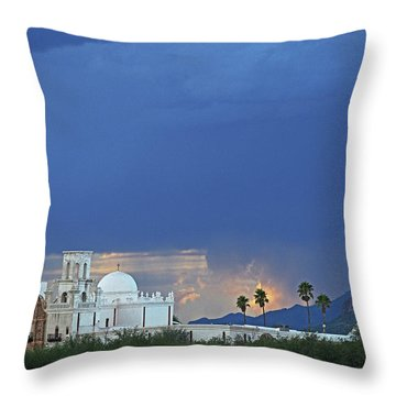 Monsoon Skies Over The Mission Throw Pillow